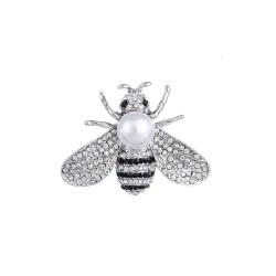 Broche abeja plateada