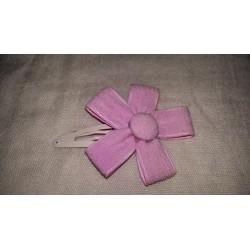 Clip flor lino rosa