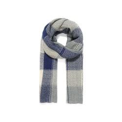 Bufanda unisex cuadros gris/azul