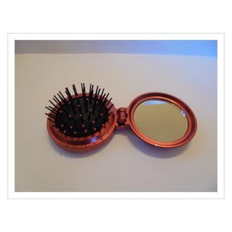 Cepillo para bolso con espejo rojo