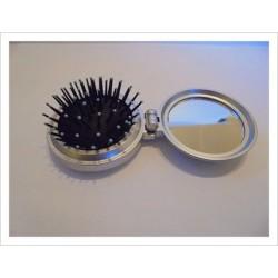 Cepillo para bolso con espejo plateado