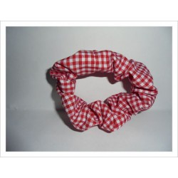 Coletero arrugado mini cuadros vichy rojo-blanco