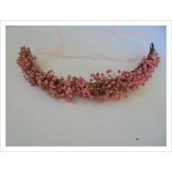 Tiara flores naturales BELLE color rosa