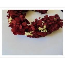 Corona flores naturales DAME HORTENSE color granate-crudo