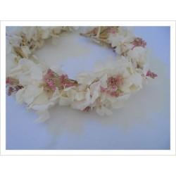 Corona flores naturales DAME HORTENSE color crudo-fucsia